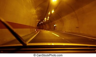Driving in a tunnel - Driving a car through a tunnel