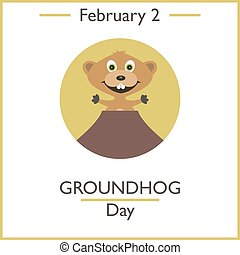 Groundhog Day. February 2. Vector illustration for you...