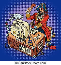 Software piracy, the hacker captain, pop art retro vector...