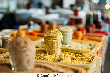 Wide Range Of Multicolored Powdered Fragrant Spices At...