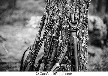 Soviet And German Rifles Of World War Ii Machine-gun Leaning...