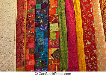 Colorful turkish fabric samples