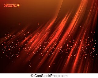 Red aurora polar light vector abstract background - Red...