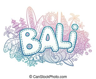 Blue and pink colors vector Bali sign on hand drawn doodle...