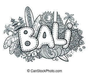 Black vector Bali sign on hand drawn doodle style symbols of...