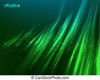 Green aurora polar light vector abstract background - Green...
