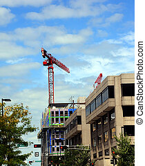 Boom works over Madison - New construction of a building...