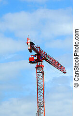 Crane over Madison Wisconsin - Large red crane hangs over...