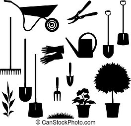 Vector gardening items isolated