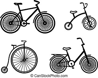 Vector bicycles illustrations - Bicycles vector...