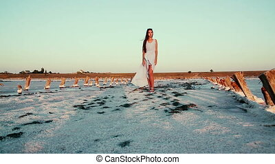Young, beautiful girl in a blue dress in an unusual place. White and pink salt on the road, around the model. Pink lakes in the Kherson region, Ukraine.