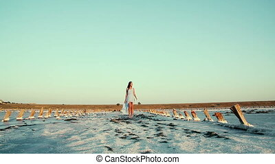 Young, beautiful girl in a blue dress in an unusual place. White and pink salt on the road, around the model. Salt Lake in the Kherson region, Ukraine.