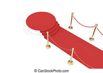 Red carpet with golden barrier and ropes Stairway to speak...