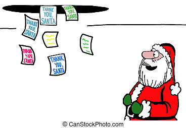 Money from ceiling - Santa watching thank you letters drop