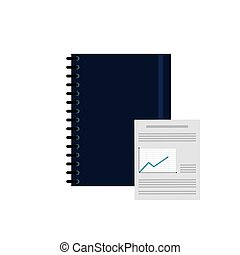notebook and graph chart icon