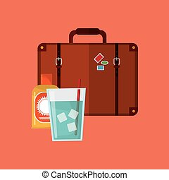 suitcase with vacation travel icons image