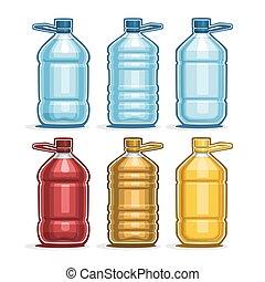 Set big Plastic Bottles - Vector Set logo blue big Plastic...