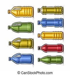 Set Plastic Bottles - Vector Set logo colored big Plastic...