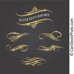 litter gold flourishes design elements