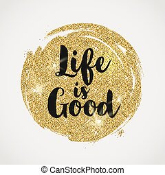 Optimistic quote on a glitter golden background - vector...