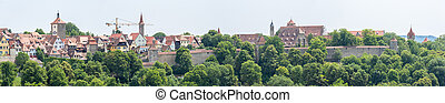 Panorama Rothenburg ob der Tauber historic town downtown,...