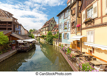 Colmar France - Colmar, Petit Venice, at dusk water canal...