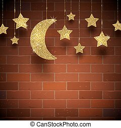 Glitter gold stars and moon on a brick wall texture...