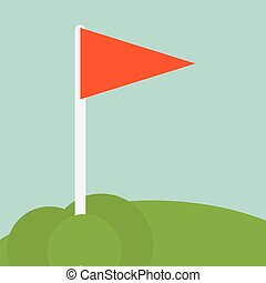 Red flag golf sport design - Red flag icon. Golf sport and...