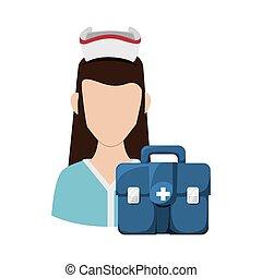 Nurse with uniform. Medical care design