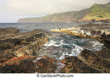 Ocean island landscape in Azores, Portugal