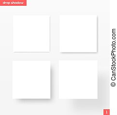 Banners with drop shadow - White square banners with drop...