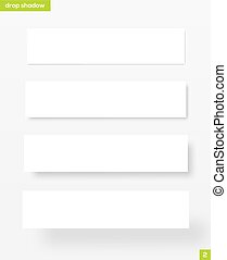 Banners with drop shadow - White rectangular banners with...
