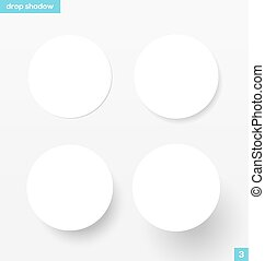 Banners with drop shadow - White round banners with drop...