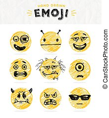 Hand drawn set of Emoticons. Vector set of Emoji. Smile...