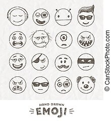 Hand drawn set of Emoticons Vector set of Emoji Smile icons...