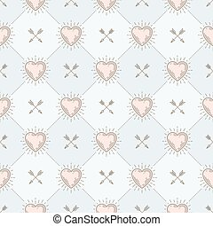 Vector seamless background with hearts and arrows - pattern...