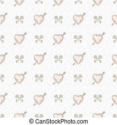 Vector seamless background with arrow pierced hearts and...