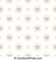 Vector seamless background with royal crown and crossed...