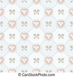 Vector seamless background with sunburst hearts and crossed...