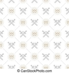 Vector seamless background with crossed swords and sunburst...