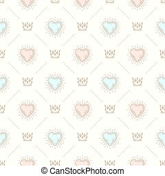 Vector seamless background with royal crown and sunburst...