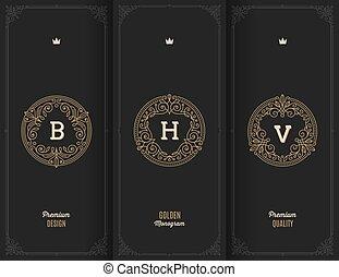 Flourishes golden monograms. - Vector premium design -...