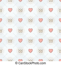 Vector seamless background with royal sunburst crown and...