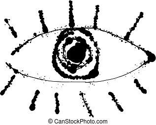 Scribble ink lines eye - Ink line eye scribble. Vector...