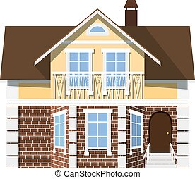 Flat style. style. Small beautiful two-storey house with bay...