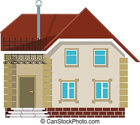 Small village house on a white background. The flat style....