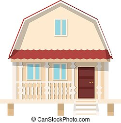 Small village house on stilts on a white background. The...