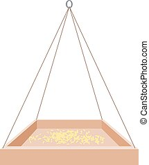Feeders for birds on a white background. Wooden trough on a...