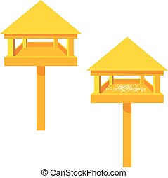 Feeders for birds on a white background. Wooden feeder with...