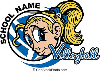 volleyball - cute girl volleyball team design for school,...